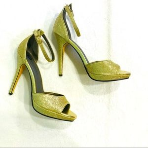 """Sparkly gold 5"""" heels peep toe sandals ankle strap"""